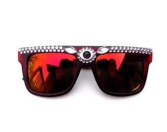 Embellished third eye sunglasses   psychedelic red bedazzled shades with jewels   music festival sunnies
