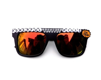 """Phish ~ Fluffhead """"Powerful Pills"""" decorated sunglasses by Baba Cool   funky embellished festival shades"""