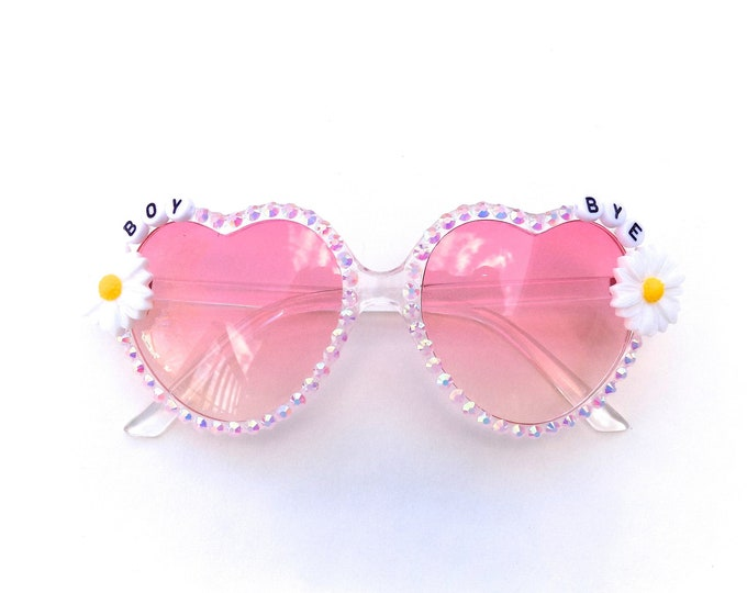 BOY BYE decorated sunglasses by Baba Cool | funky embellished festival sunnies with daisies