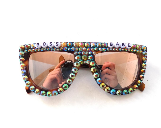 BOSS BABE decorated sunglasses by Baba Cool | funky embellished festival sunnies with rhinestones | tricked out babe glasses