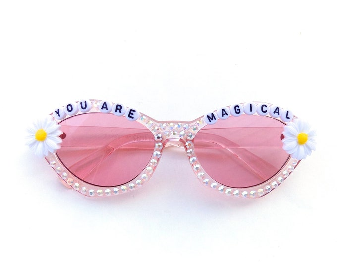 YOU ARE MAGICAL decorated sunglasses by Baba Cool | For unicorn queens everywhere ~ embellished festival sunnies ~ you are magical!