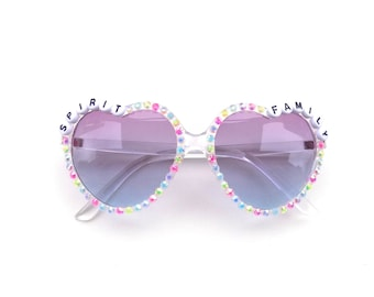 "Phish Set Your Soul Free ""Spirit Family"" decorated heart-shaped sunglasses by Baba Cool 