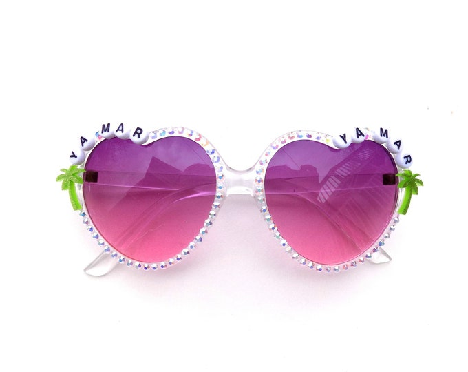"Phish ""Ya Mar"" decorated heart-shaped sunglasses by Baba Cool 
