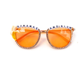 """Ween """"Bananas and Blow"""" decorated sunglasses by Baba Cool 