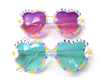 FESTY BESTIES matching set of decorated heart-shaped glasses by Baba Cool | funky embellished festival sunnies with daisies and pastels