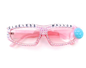 Phish ~ CLUELESS WALLOB ~ Kasvot Vaxt decorated pink glasses by Baba Cool   funky embellished festival shades   I see a turtle in the clouds