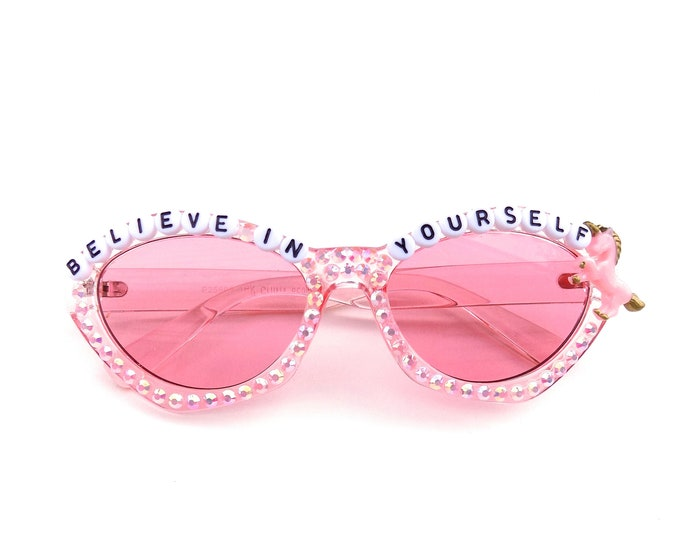 Believe In Yourself decorated sunglasses by Baba Cool | For unicorn queens everywhere ~ embellished festival sunnies ~ you are magical!