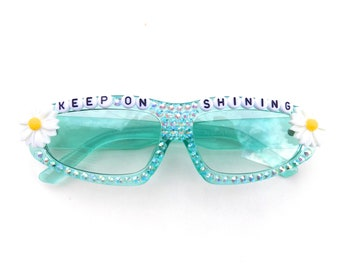 MORE COLORS! Jerry Garcia ~ Keep On Shining ~ decorated retro glasses by Baba Cool   funky embellished festival shades   shine on!