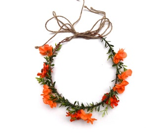 Sunshine Daydreamin' flower crown | orange woodland flower crown halo | floral headpiece for weddings, bachelorette, music festivals