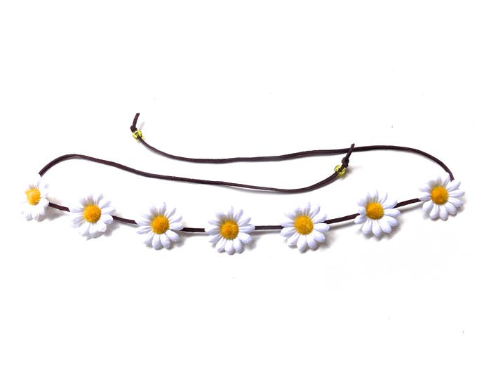 The Sweet Virginia flower crown headband in white, simple hippie headband with white daisies, festival flower crown, floral hair accessory
