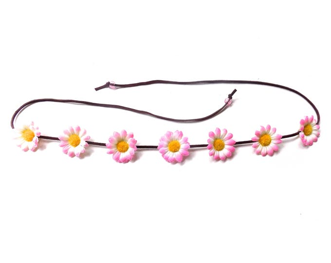 The Sweet Virginia flower headband in light pink, festival flower crown with light pink daisies, floral hair accessory