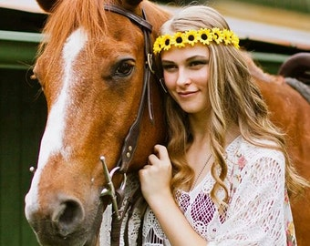 The China Cat Sunflower crown, flower crown headband with yellow sunflowers, festival flower crown, hippie flower garland