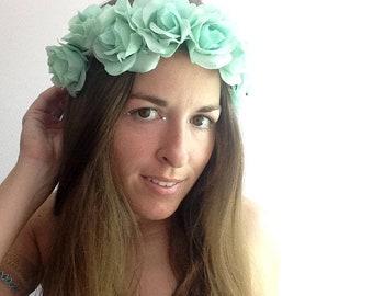 Mermaid Queen flower crown, luscious aqua green rose crown on adjustable band, music festival floral crown