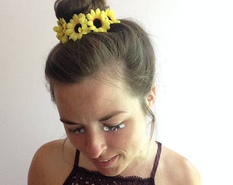 Sunflower bun wrap, leather bun crown with small sunflowers, boho hair wrap, hippie hair tie