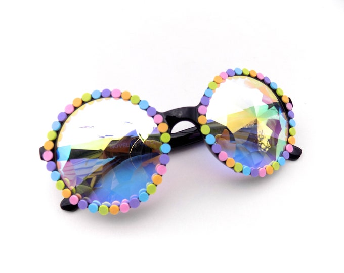 Rainbow Kaleidoscope Glasses | decorated diffraction glasses by Baba Cool | funky, colorful festival fashion