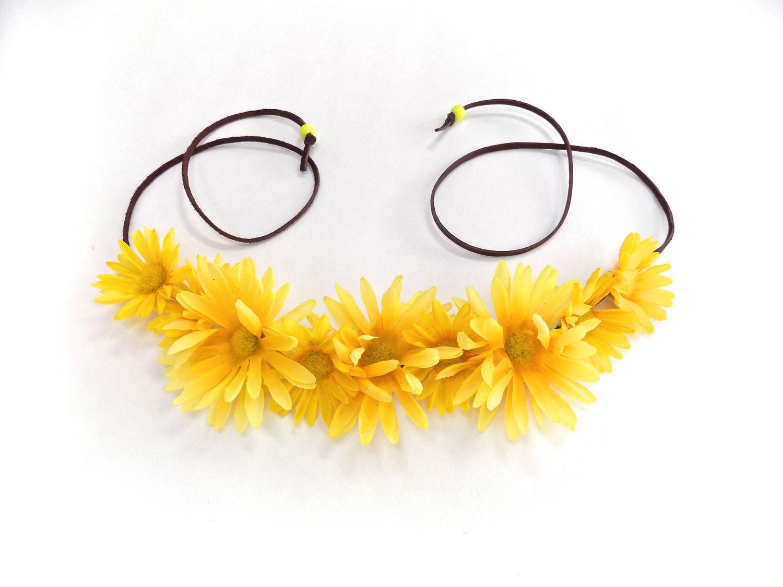 Yellow Daisy Flower Crown Hippie Flower Halo Coachella Flower