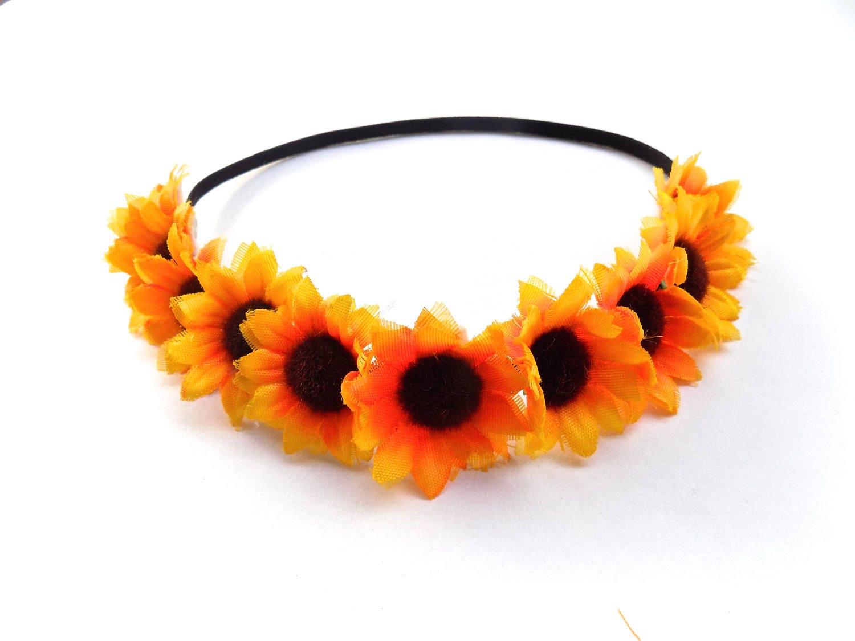 The China Cat Sunflower Crown On Elastic Headband Hippie Flower