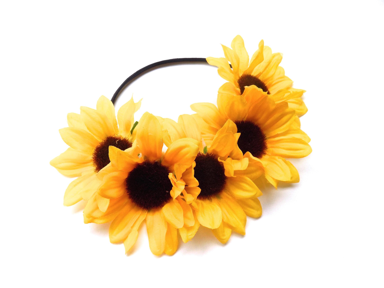 Big Beautiful Sunflower Crown On Elastic Band Hippie Flower Crown