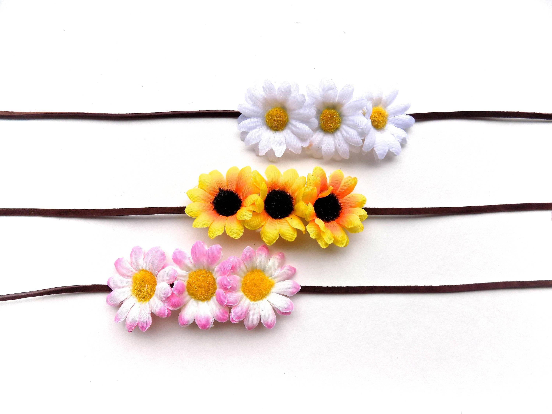Triple daisy headband or bun wrap multi use floral hair accessory triple daisy headband or bun wrap multi use floral hair accessory with sunflowers or daisies simple flower crown headband izmirmasajfo