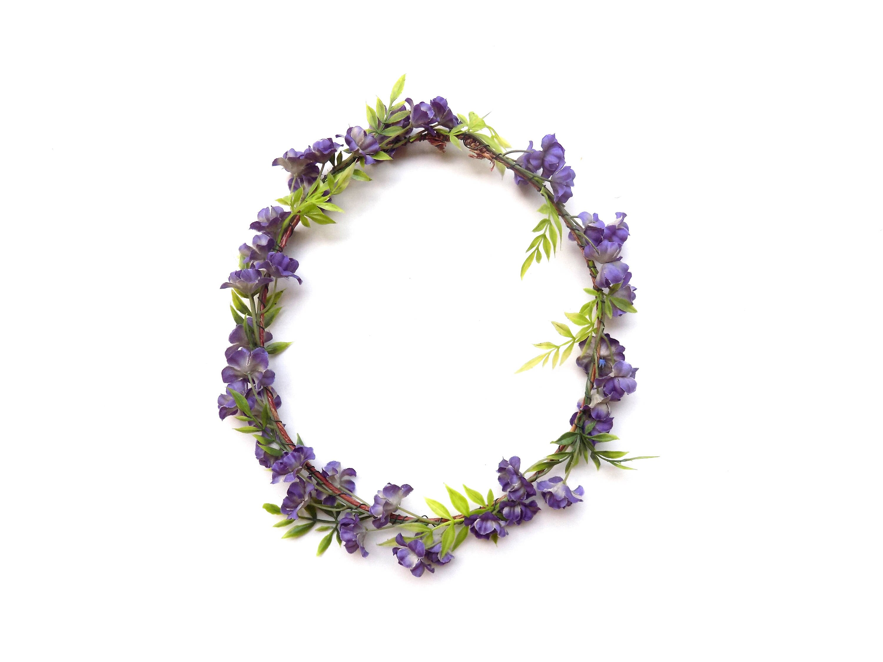 Woodland Crown With Dark Purple Flowers Realistic Flower Crown With