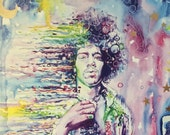 Wind Cries Jimi Watercolor India Ink, 11x14 quot Print vibrant colorful painting, Jimi Hendrix