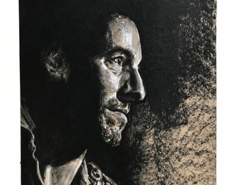 """the Boss, Bruce Springsteen, 9""""x12"""" Original Charcoa Drawing realistic musician portrait"""