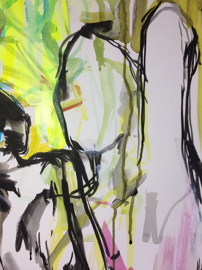 And it was that way 18x24 original watercolor nude woman art study painting