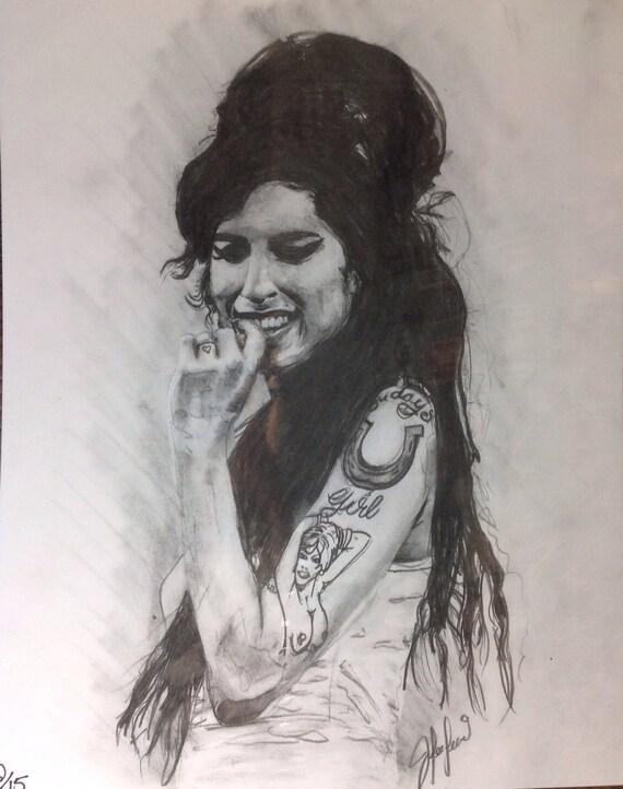 Amy Winehouse Ebony Drawing Print Etsy
