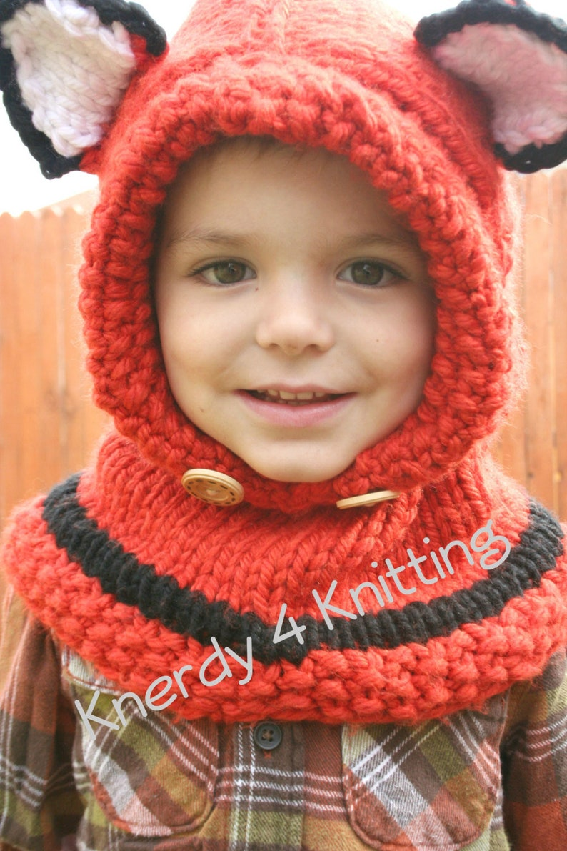 eb8ec71d2a7 Knit Fox Cowl Hooded Cowl Baby Cowl Toddler Cowl Child