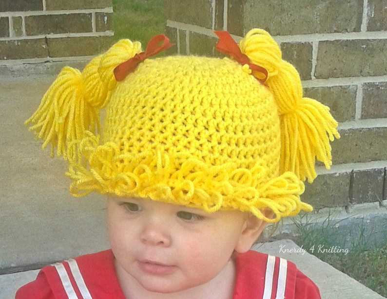 5047d7b9a Cabbage Patch Wig, Infant Girl Halloween Costume, Crochet Yarn Wig, Cabbage  Patch Wig, Gifts for Baby Girls, Baby Shower Gifts, Gag Gifts