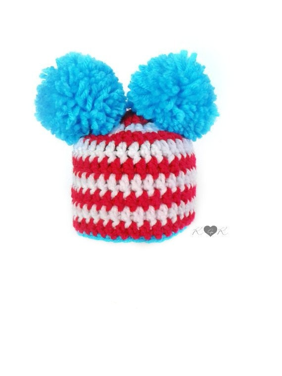 1fc0f01a65c Dr. Seuss Hat Thing 1 Thing 2 Hat Turquoise Red White