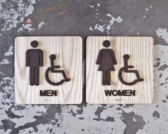 Walnut Ash Restroom Sign Set - ADA Compliant - Various Sizes Available - 2 Signs - Square Wooden Signage - Male Female Wayfinding