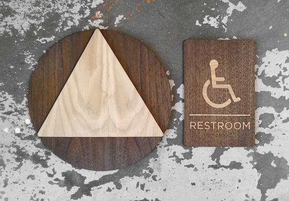 California AB Restroom Signs ADA Unisex Bathroom Set - Ada unisex bathroom sign