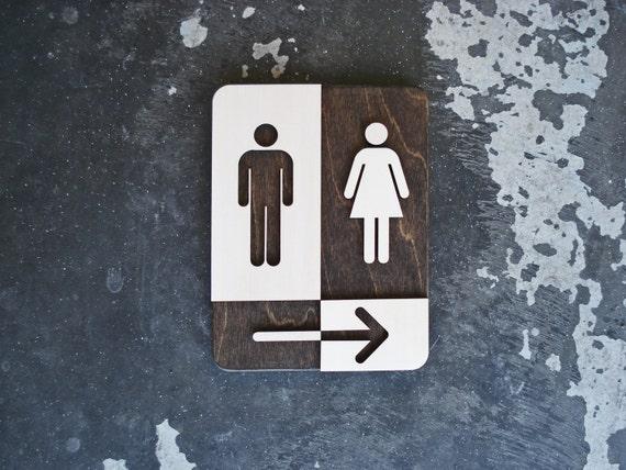 Rechthoekig Ontwerp Badkamer : Unisex toilet bord met pijl unieke badkamer decor etsy