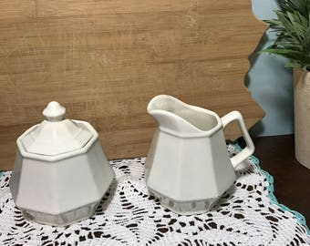 White Ironstone Creamer and Sugar Bowl with Lid - Vintage Farmhouse Decor - Pitcher - Country Living - Vintage China - Coffee & Tea