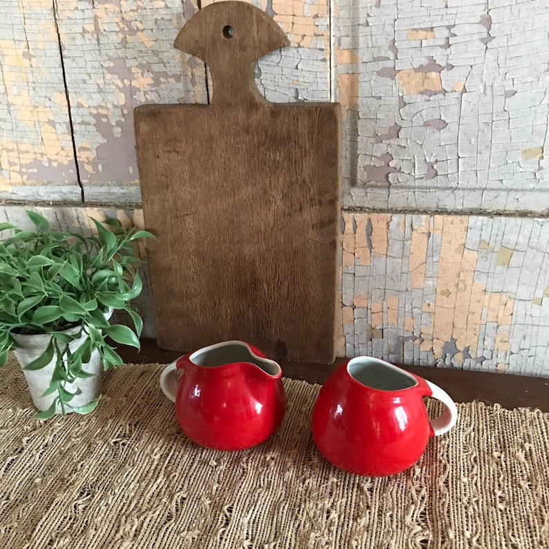 Hall Superior Quality Red Creamer and Sugar Set Farmhouse Vintage Retro Kitchen 1930/'s Collectible