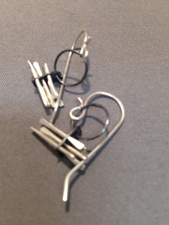 Riveted blade earrings