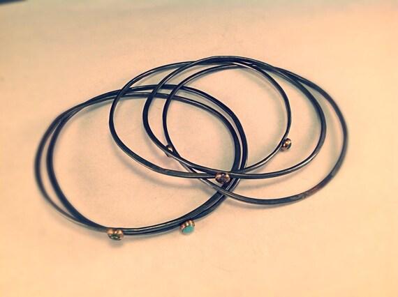 Stacking Bangle Bracelets with Bezel Set Stones