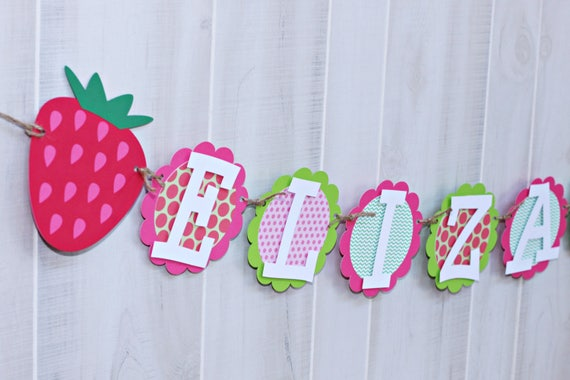 Strawberry Birthday NAME Banner Strawberry Party Banner Etsy