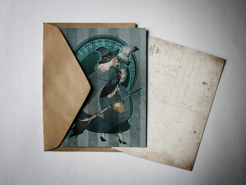 White Witch glossy 105 x 148 mm illustrated postcard inches: 4.13  x 5.82-350g premium paper GAVINA Yule Mini Print A6