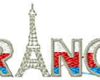 Embroidery file FRANCE 8.4x3cm instant download all formats 10 x 10 frame