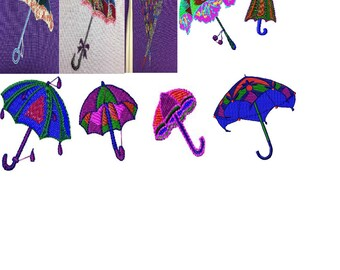 Embroidery files 9 different umbrellas immediately download