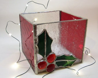 Holiday Candle Holder-Stained Glass- Holly and Berries
