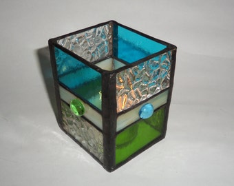 Stained Glass Candle Holder - Watery Blue-Peridot Green and Textured Clear.