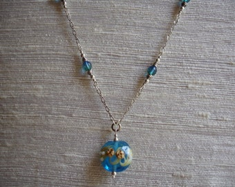 Turquoise lampwork glass pendant necklace