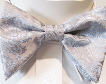 ff0855e712b5 Silver Paisley Tom Ford Inspired Red Lipstick Silver Satin Tear drop  Butterfly Large Pretied Bow Tie With Matching Pocket Square