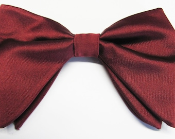885d620cf39e Burgundy Satin Tom Ford Inspired Burgundy Merlot Satin Tear drop Butterfly  Large Pre-tied Bow Tie With Matching Pocket Square