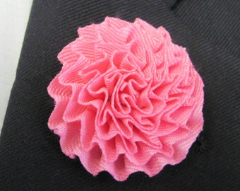 Pink Rose  Flower Silk Boutonniere With 2 Inch Stick Lapel Pin