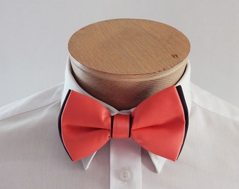 Mens Bowties Extra Fancy Two colored Fabric Adjustable Bow Tie With Pocket Square. Coral With Black Trim Neck Tie