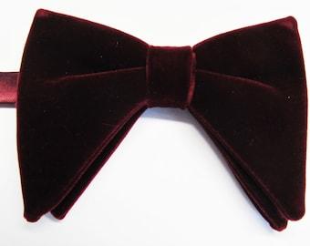 Burgundy Velvet Tom Ford Inspired With Free Pocket Square  Burgundy Merlot Velvet Tear drop Butterfly Large Pretied Bow Tie